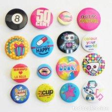 Pins de colección: 3€ CADA CHAPITA CON IMPERDIBLE CHAPA Nº 8 ESTRELLA LABIOS HAPPY ROBOT LA ROJA CHAPITAS CHAPAS NO PIN. Lote 85389536