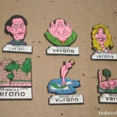 Pins de colección: -PIN PERIODICO SUR AÑOS 90 PERSONAJES DE MARBELLA - LOTE DE 6 PINS -. Lote 86593480