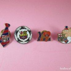 Pins de colección: LOTE 4 ANTIGUOS PINS-F.C.BARCELONA-PERFECTO ESTADO-VER FOTOS. Lote 87384528
