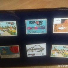 Pins de colección: COLECCION DE SELLOS METALICOS PINS DE LA EXPO 92 EN CAJA DE METRAQUILATO. Lote 87472056