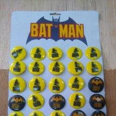Pins de colección: BLISTER BATMAN 35 CHAPAS PLÁSTICO DURO DC COMICS 1989,NUEVO Y COMPLETO. Lote 92888640