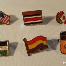 Pins de colección: LOTE-2 DE 6 PINS ANTIGUOS BANDERAS PI9. Lote 98020851
