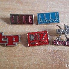 Pins de colección: LOTE 5 PINS PRENSA - REVISTAS - TP - DIEZ MINUTOS - CRECER - ELLE - VER FOTO ADICIONAL. Lote 184194230