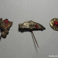Pins de colección: MAGNIFICOS TRES PINS DE ALFILER DE LA GUERRA CIVIL CRUZ ROJA. Lote 103228547