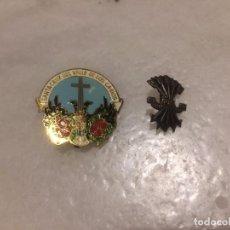 Pins de colección: ANTIGUOS 2 PIN / PINS CHAPA / CHAPAS, UNO DEL VALLE DE LOS CAIDOS Y EL OTRO DE LA FALANGE ESPAÑOLA. Lote 105676299