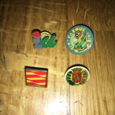 Pins de colección: LOTE 4 PINS IZQUIERDA UNIDA, PARQUE ATRACCIONES DE ZARAGOZA, ESCUDO ZARAGOZA BANDERA ARAGON. Lote 111738294