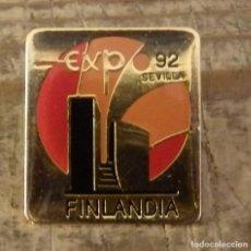 Pins de colección: PIN EXPO 92 SEVILLA, PABELLON DE FINLANDIA. Lote 126377251