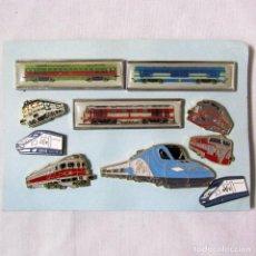 Pins de colección: COLECCIÓN DE 10 PINS FERROVIARIOS TRENES FERROCARRIL. Lote 142914698