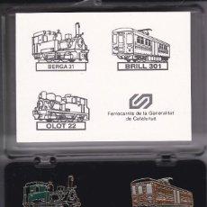 Pins de coleção: COLECCION DE 3 PINS DE TRENES EN SU ESTUCHE ORIGINAL (TREN-TRAIN-ZUG) OLOT-BERGA. Lote 147391458