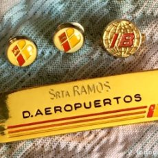 Pins de colección: LOTE 1980S CON 4 OBJETOS DE AEROLÍNEAS IBERIA: 3 PINS Y 1 INSIGNIA METÁLICA DE PERSONAL DE IBERIA. Lote 155447258