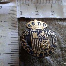 Pins de colección: INSIGNIA DE SOLAPA SOMATEN DE LA 2ª REGION - ESCUDO ESPAÑA - DAMASQUINADO SOBRE PLATA. Lote 158509710