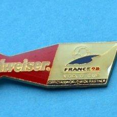 Pins de colección: PINS: BUDWEISER. FRANCE 98 .WORLD CUP DE FÚTBOL . Lote 162802994
