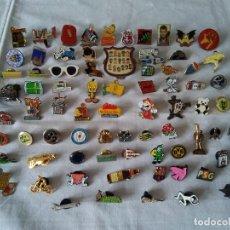 Pins de colección: 4-LOTE DE 75 PINS, FUTBOL, ESQUI, BEBIDAS, TABACO, DISNEY, Y MAS. Lote 170385700