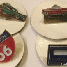 Pins de colección: ANTIGUO PIN THE PUBLICIDAD TABACO CHESTERFIELD WAY PINS COLECCIÓN ORIGEN RUTA 66 CLASICOS 4 UNIDADES. Lote 171323802