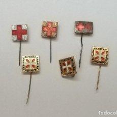 Pins de colección: LOTE DE 6 PINS ALFILER DE CRUZ ROJA Y CARITAS ESPAÑA . Lote 171665422