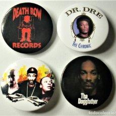 Pins de colección: LOTE 4 CHAPAS PINS DEATH ROW RECORDS. Lote 174628925
