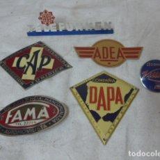 Pins de colección: LOTE 7 CHAPA DE PUBLICIDAD ANTIGUAS, DE COCHE O MARCAS Y SEGUROS. ORIGINALES. . Lote 175074178