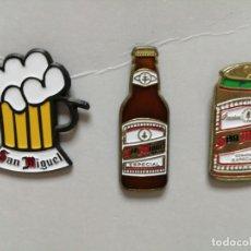 Pins de colección: LOTE TRES PINS PIN CERVEZA SAN MIGUEL BEBIDA. Lote 177623933