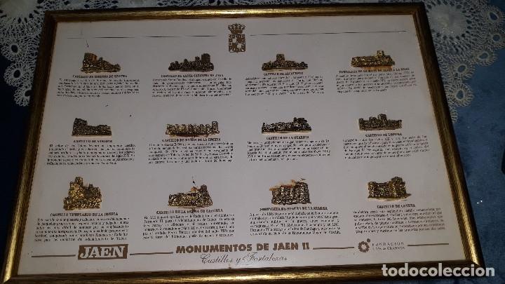 MONUMENTOS DE JAEN II-CUADRO DE FIGURAS DE METAL DORADO- CASTILLOS Y FORTALEZAS DE JAEN (Coleccionismo - Pins)