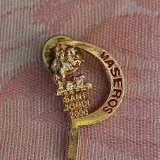 Pins de colección: PIN SANT JORDI, MASEROS, VALENCIA, FALLAS EN DORADO. Lote 182080131