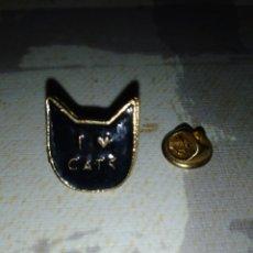 Pins de colección: PIN LACADO NEGRO I LOVE CATS. YO AMO LOS GATOS.. Lote 194233080