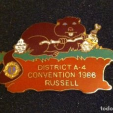 Pins de colección: PRECIOSO PIN DISTRICT A-4 CONVENTION 1986 RUSSELL. Lote 194624623