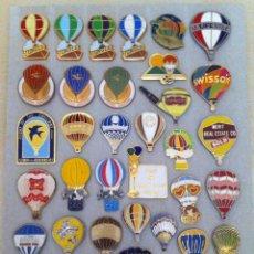 Pins de colección: IMPRESIONANTE LOTE DE 37 ANTIGUOS PIN O PINS DE GLOBOS AEROESTATICOS (LA MAYORIA IMPOSIBLES DE ENCON. Lote 194889353