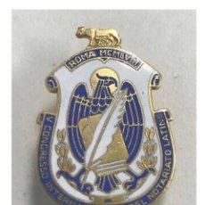 """Pins de colección: INSIGNIA SOLAPA """"V CONGRESO INTERNACIONAL NOTARIOS"""" ROMA 1958 - JOHNSON MILAN. Lote 195741205"""