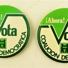Pins de colección: CHAPA PIN PUBLICIDA POLÍTICA COALICIÓN DEMOCRÁTICA. Lote 196904540