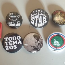 Pins de colección: LOTE 10 CHAPITAS ROCK AND ROLL - HENDRIX, LINK WRAY, THE BELL BOYS, PINBALL, LOS BUNKERS, SLOVENLY... Lote 199740356