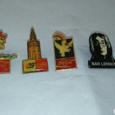 Pins de colección: PINS COCACOLA EXPO 92 -MASCOTA CURRO, COBI BARCELONA 92 TORRE DEL ORO, JHON LENNON. Lote 205268841