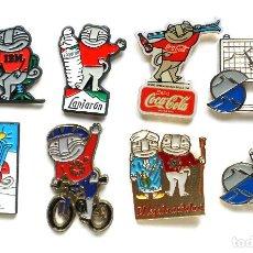 Pins de colección: 8 PIN PINS MASCOTA CECILIO MUNDIAL SKY SIERRA NEVADA 1996. GRANADA. LANJARÓN COCA COLA IBM GENERAL. Lote 207142078