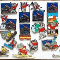 Pins de colección: 18 PIN PINS OFICIALES MASCOTA CECILIO CAMPEONATO MUNDO SKY SIERRA NEVADA 1996. Lote 207142458