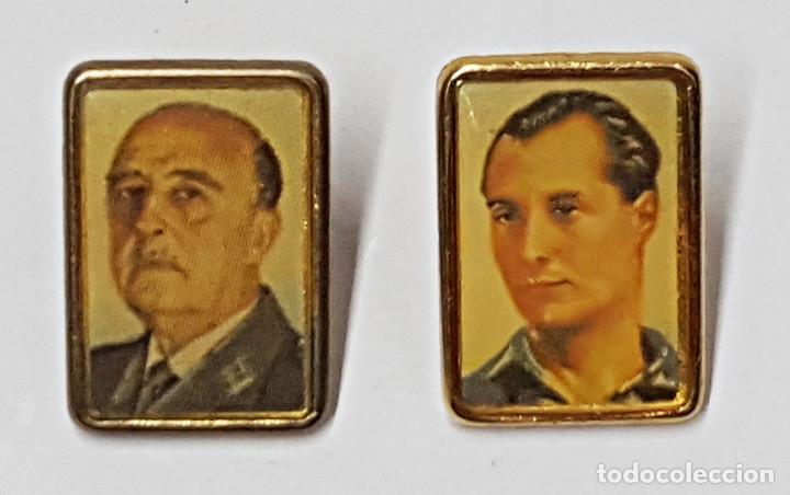 2 PIN F. FRANCO Y J.A.PRIMO DE RIVERA. (Coleccionismo - Pins)
