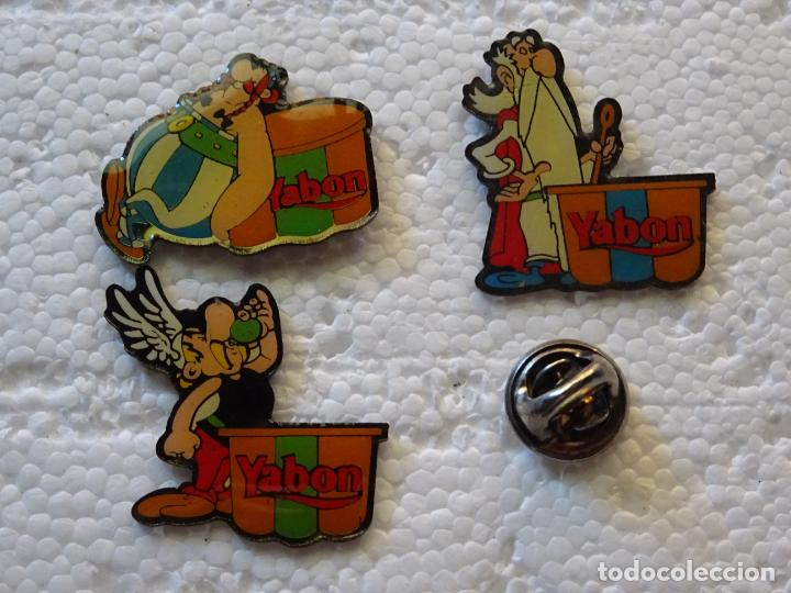 3 PINS DE DIBUJOS ANIMADOS COMICS TEBEOS. ASTERIX Y OBÉLIX. FLANES YABON (Coleccionismo - Pins)