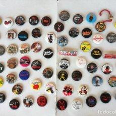 Pins de colección: LOTE DE 66 CHAPAS METALICAS DE GRUPOS VARIADOS MUSICA ROCK, HEAVY, POP, PUNK. - ALGUNAS RARAS. Lote 218816196
