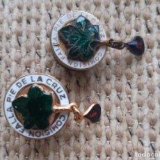 Pins de colección: 1960'S LOTE 2 PIN INSIGNIAS ESMALTADA FALLA PIE DE LA CRUZ VALENCIA.. Lote 222295567