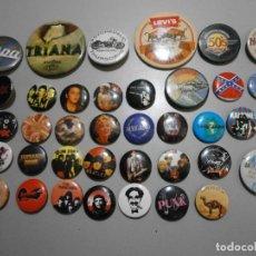 Pins de colección: LOTE DE CHAPAS PINS DE GRUPOS DE MUSICA Y OTROS AC CD RAMORES ELVIS PINK FLOYD ETC. Lote 254942725