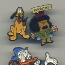 Pins de colección: PLUTO + MAFALDA RACISTAS + DONALD LOTE 3 PINES. Lote 260768165