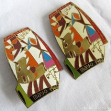 Pins de colección: 2 INSIGNIAS METÁLICAS V DEMOSTRACIÓN SINDICAL, EDUCACIÓN Y DESCANSO, TEATRO, MÚSICA Y DANZA 1962. Lote 262249475