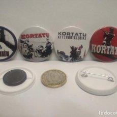 Pins de colección: CHAPA BOTON ALFILER PIN O IMAN 4X KORTATU 38MM PEPETO. Lote 264097755