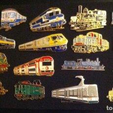 Pins de colección: LOTE 17 PIN O PINS DE TRENES Y LOCOMOTORAS. Lote 269037613