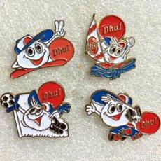 Pins de colección: 641.LOTE 4 PIN INSIGNIA ANTIGUAS DE FLAN DHUL. Lote 276608293