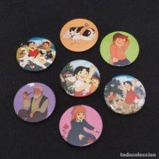 Pins de colección: LOTE DE 7 CHAPAS CON ALFILER HEIDI AÑO 1987, TAURUS FILMS FABRICADAS POR AUJUPE, BARCELONA. Lote 288226858