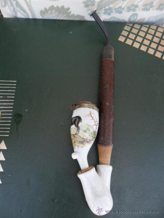 CACHINBA DE ASTA Y PORCELANA (Coleccionismo - Objetos para Fumar - Pipas)