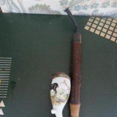 Pipas de fumar: CACHINBA DE ASTA Y PORCELANA. Lote 38579253