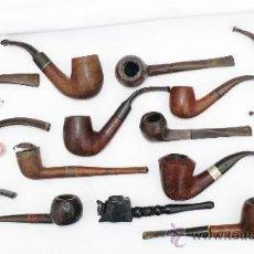 Pipas de fumar: GRAN COLECCION PIPAS PIPA ANTIGUAS 16 MADERA RAIZ BAQUELITA METAL. Lote 39256528