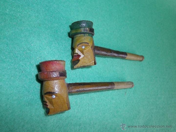 CURIOSA PAREJA ANTIGUA PIPA FUMAR RECTA ALEMANA CABEZA HOMBRE SOMBRERO MADERA TALLADA PINTADA A MANO (Coleccionismo - Objetos para Fumar - Pipas)