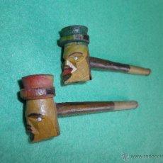 Pipas de fumar: CURIOSA PAREJA ANTIGUA PIPA FUMAR RECTA ALEMANA CABEZA HOMBRE SOMBRERO MADERA TALLADA PINTADA A MANO. Lote 52390477