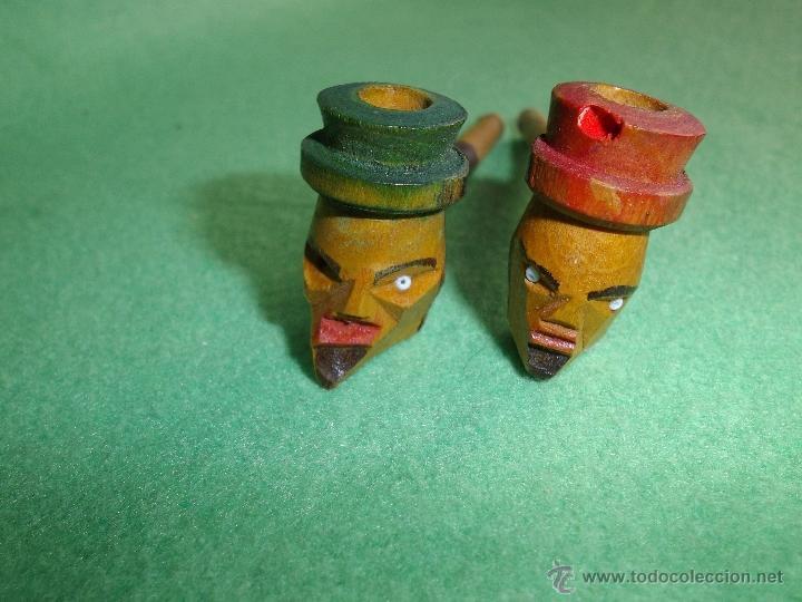 Pipas de fumar: Curiosa pareja antigua pipa fumar recta alemana cabeza hombre sombrero madera tallada pintada a mano - Foto 4 - 52390477